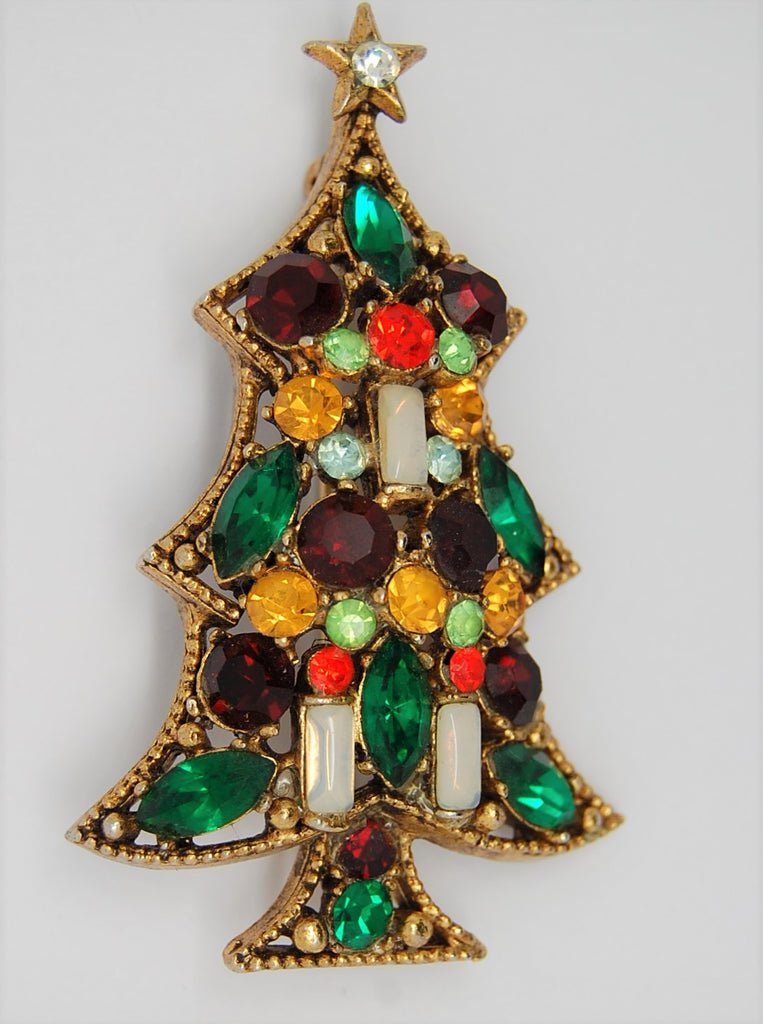Regency Candle Rhinestone Christmas Holiday Tree Figural Pin