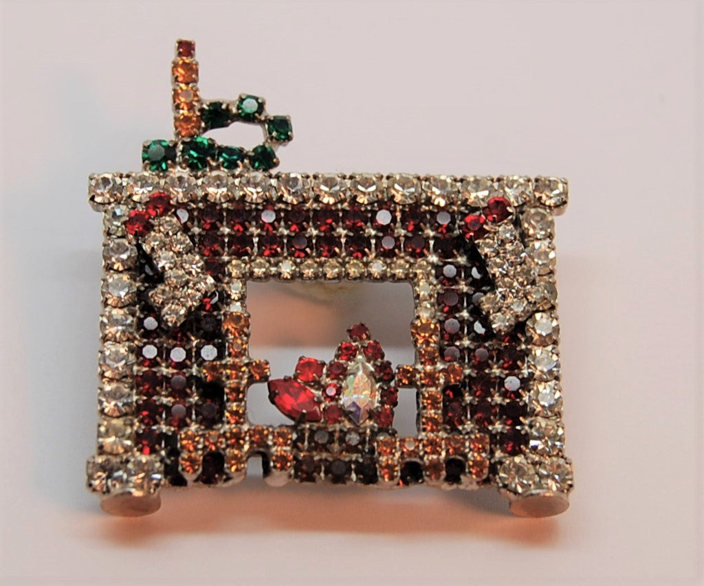 Bauer Christmas Mantle Fireplace Stocking Figural Holiday Brooch -  Rare