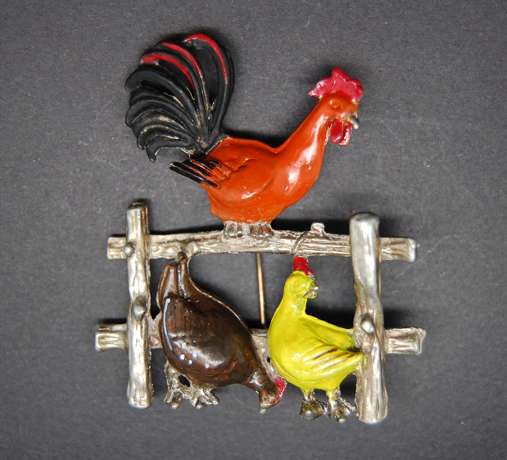 Rooster Chickens Hens Pot Metal Figural Brooch Pin - Mink Road Vintage Jewelry