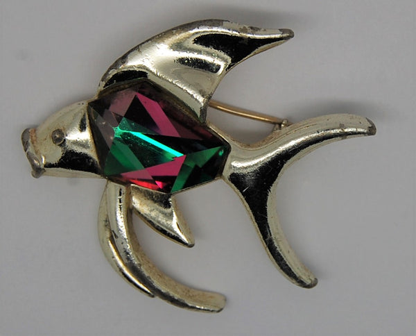 Sarah Coventry Watermelon Crystal Angel Fish Figural Brooch