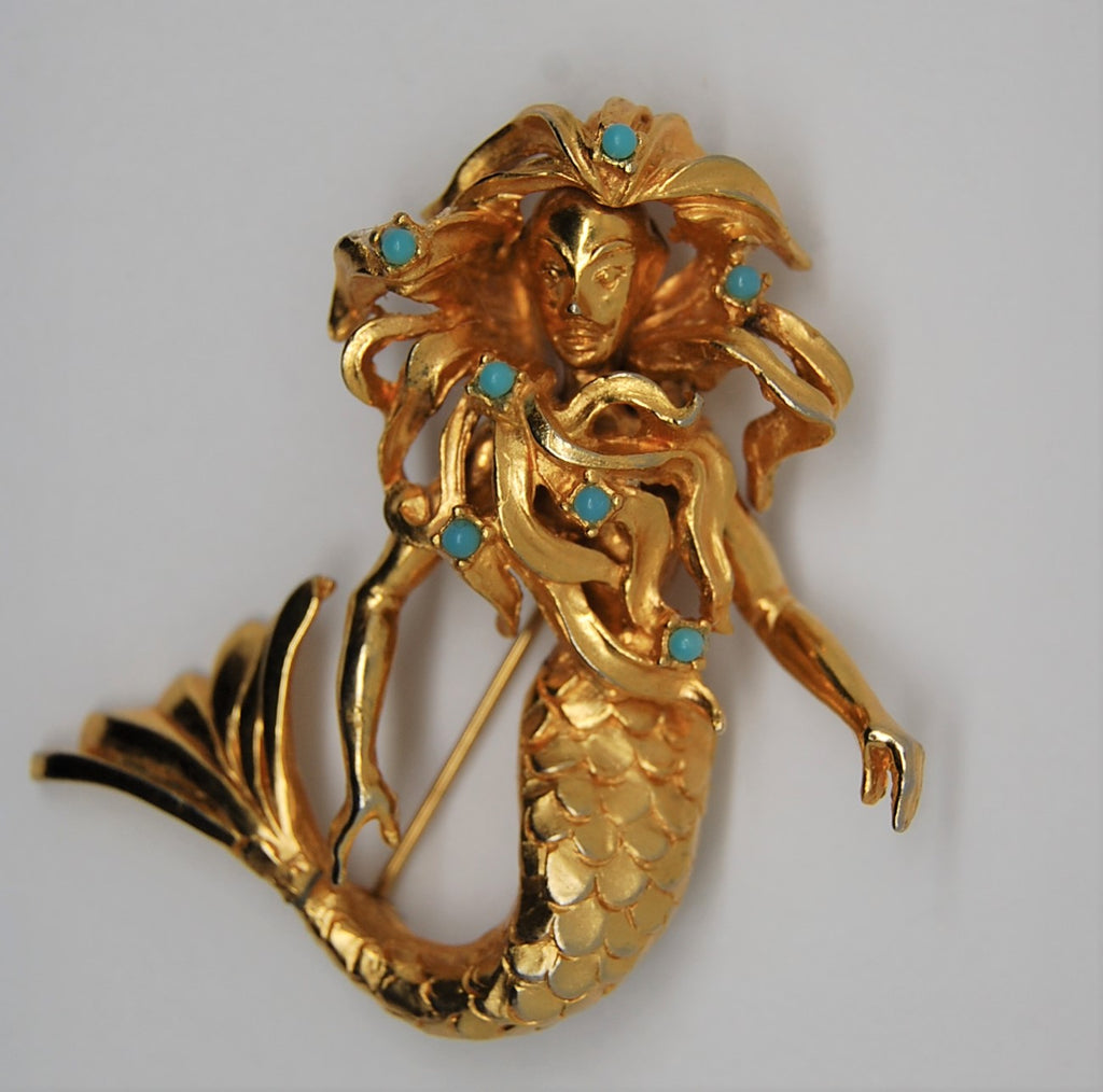DeNicola Vintage Mermaid Vintage Figural Brooch