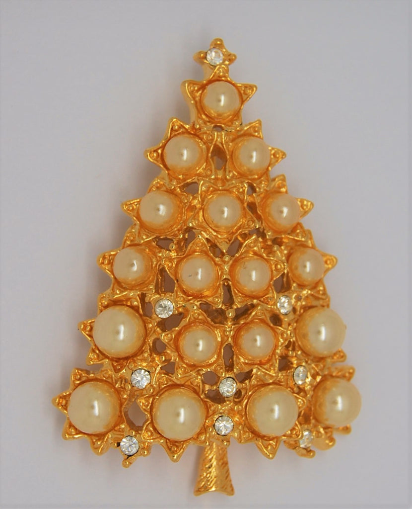 Graziano Pearl & Rhinestone Christmas Tree Pin Brooch