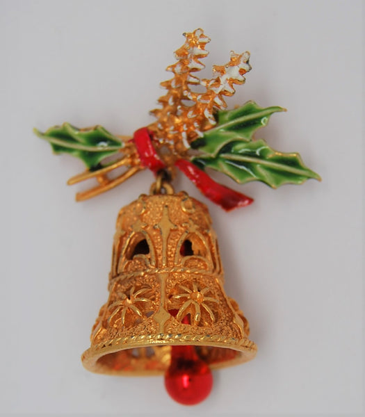 ART Holiday Holly Christmas Gold Tone Bell Vintage Figural Brooch 1960s
