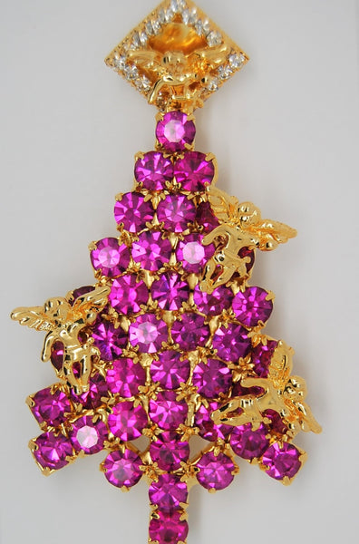 Anthony Attruia Christmas Tree Fuchsia Rhinestones Angel Holiday Brooch