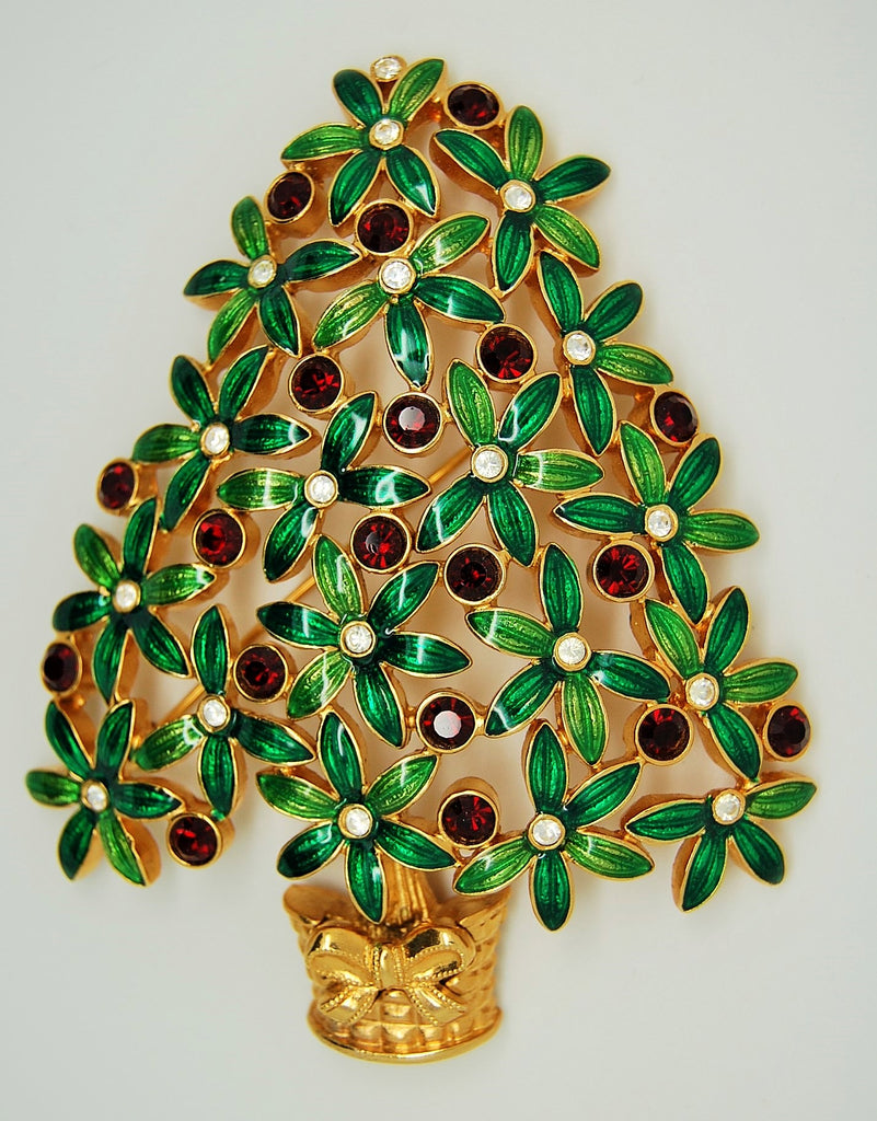 Trifari Christmas Tree Brooch - Sphinx Version 1997 - Mink Road Vintage Jewelry