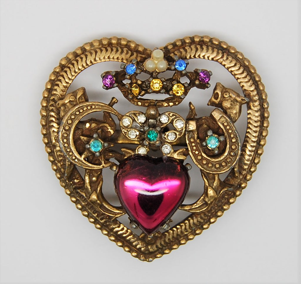 Coro Glass Belly Dragon Heart Vintage Figural Pin Brooch
