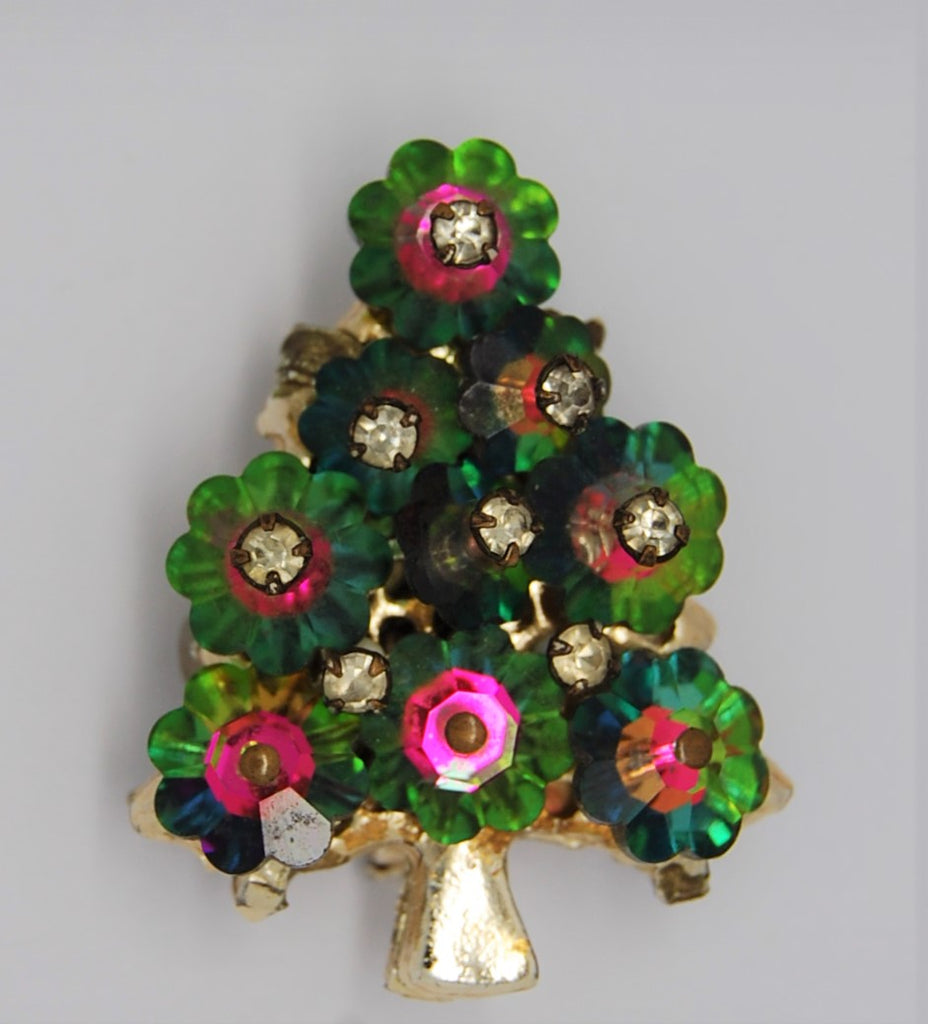 Christmas Tree Watermelon Margarita Rivoli Crystal Pin Brooch - 1950s