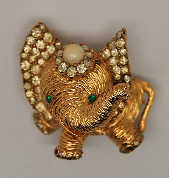 Ciner Elephant Baby Figural Brooch - 1950s to 1960's - Mink Road Vintage Jewelry