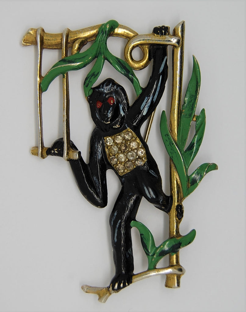 Bauman Massa Monkey Swinging Figural Brooch - Rare
