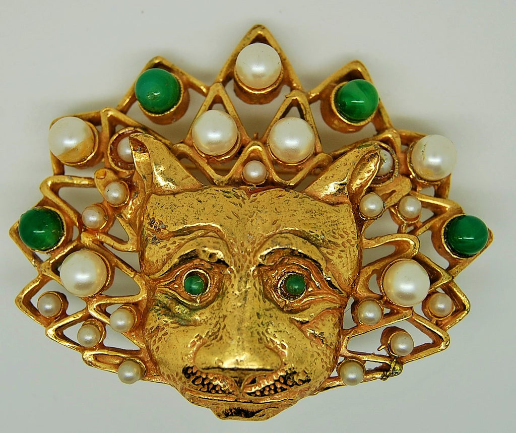 Richelieu Cat Lion Mask Figural Brooch 1970s - Mink Road Vintage Jewelry