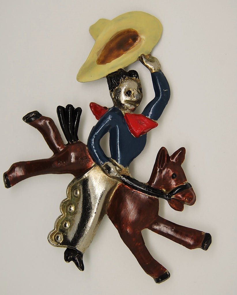 Bucking Bronco Cowboy Horse Celebration of the West Brooch 1940s - Mink Road Vintage Jewelry