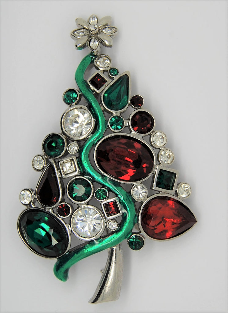 LIA Asymmetric Multi-stone Figural Christmas Tree Brooch - Mint