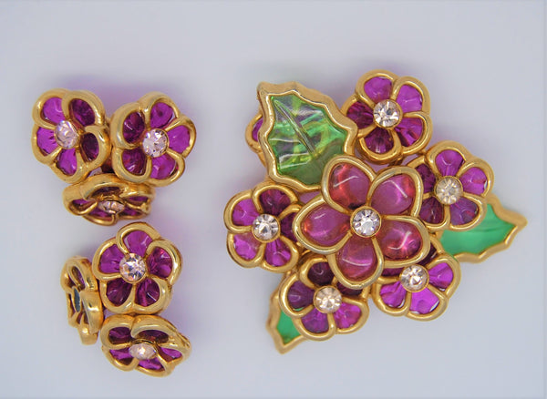 Coro Translucent Amethyst Floral Brooch & Matching Clip Earrings - 1950s