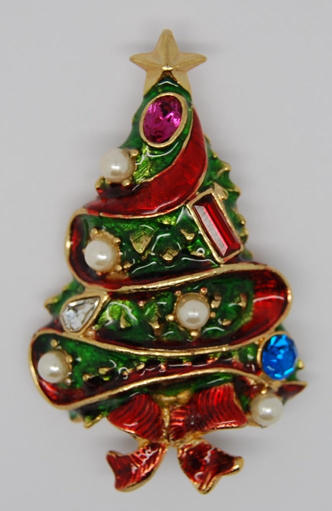 Christmas Tree Enamel Ribbon Figural Brooch -dates 1980s