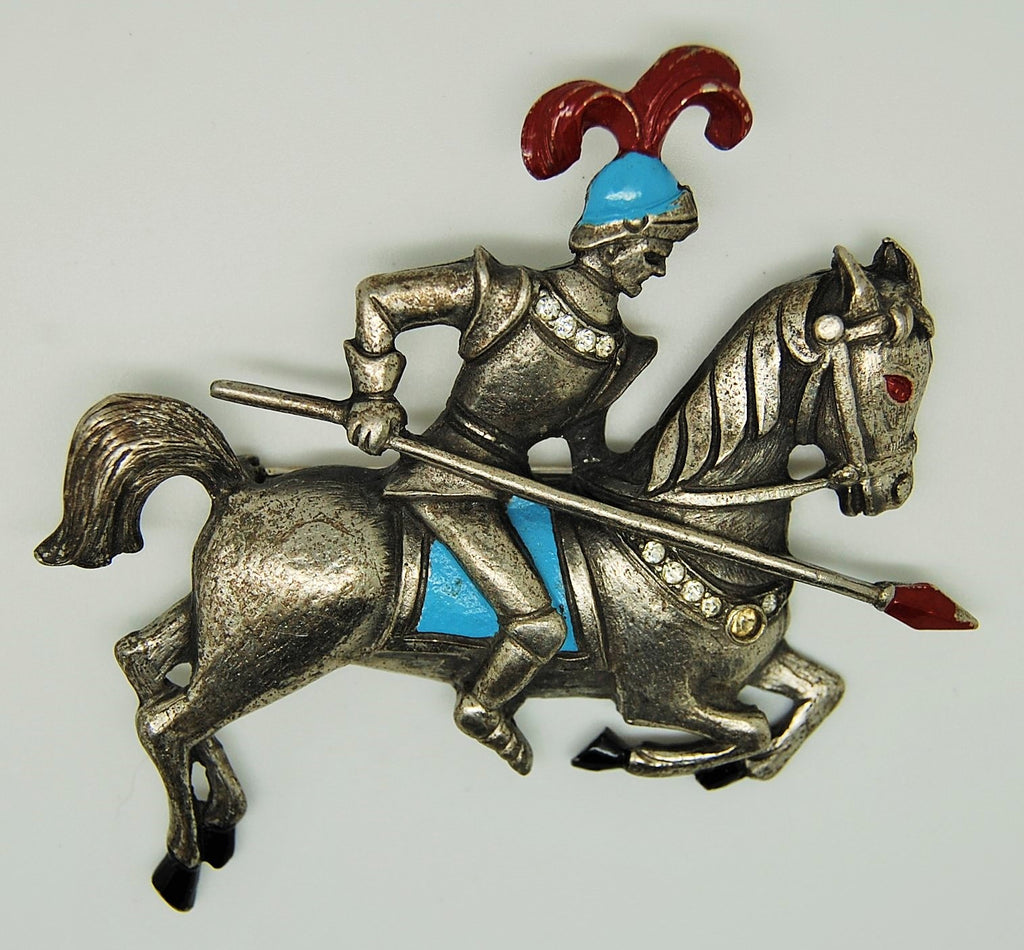 Armored Knight Jousting Horse Figural 1940s Brooch - Mink Road Vintage Jewelry