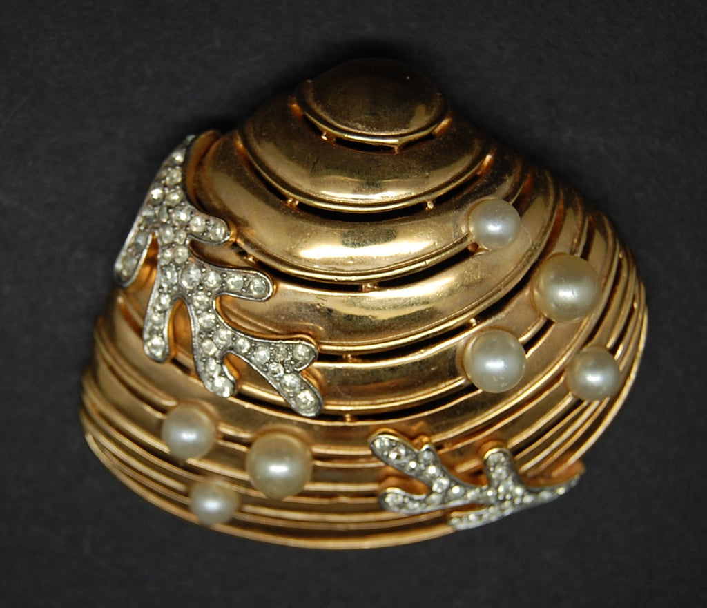 Crown Trifari Under the Sea Clamshell Figural Brooch Pin - Mink Road Vintage Jewelry