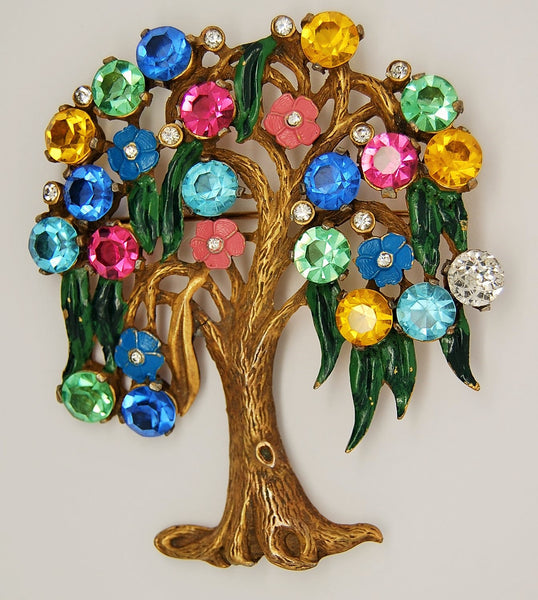 Tree of Life Weeping Willow Figural Brooch - 1930s to 1940s - Mink Road Vintage Jewelry