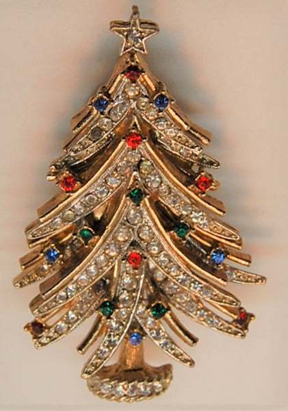 ART Holiday Christmas Tree Rhinestone Bough Brooch
