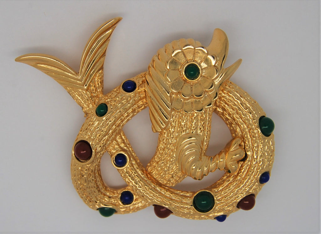 Coro Sea Serpent Mystical Beast Figural Vintage Brooch