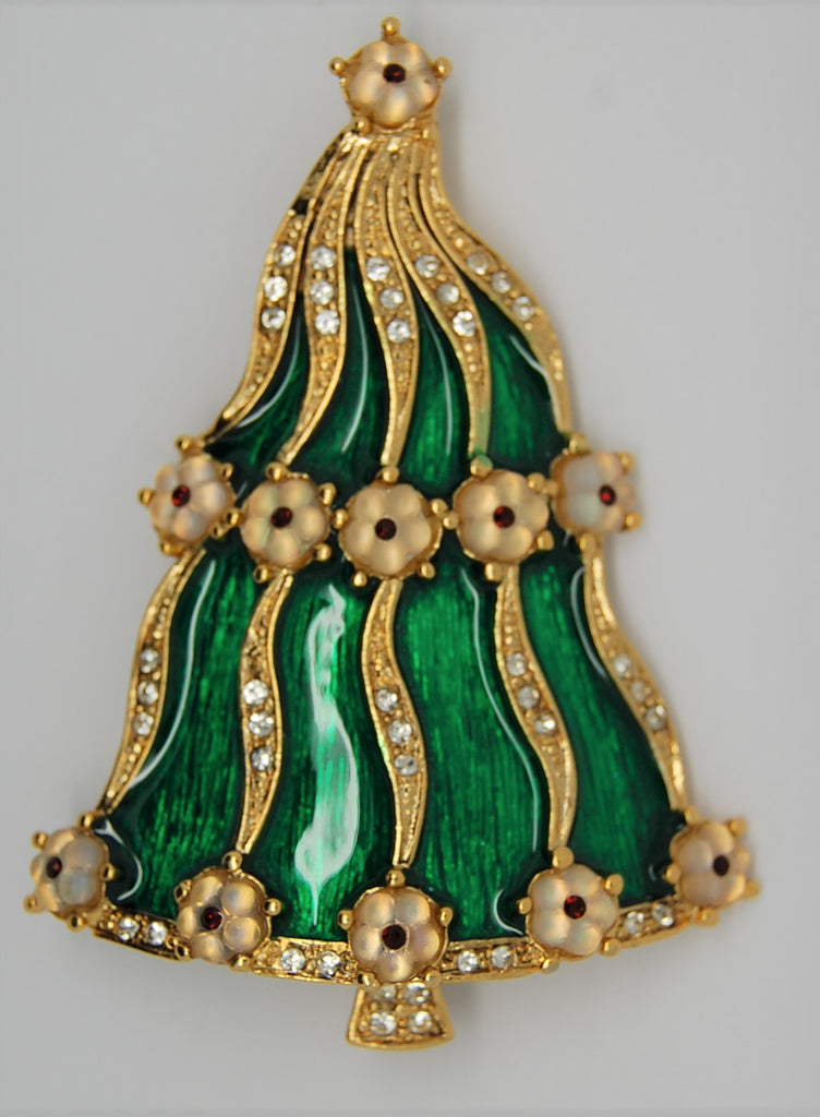 LIA Green Enamel Floral Ornaments Christmas Brooch - 1990s - Mint