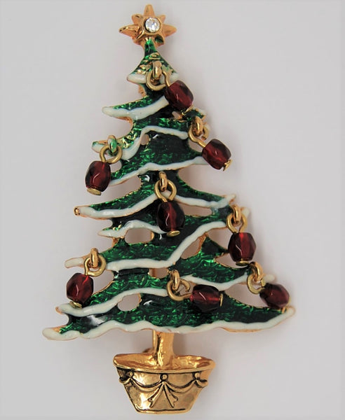 Avon Christmas Tree Ruby Dangles Holiday Brooch - Mint