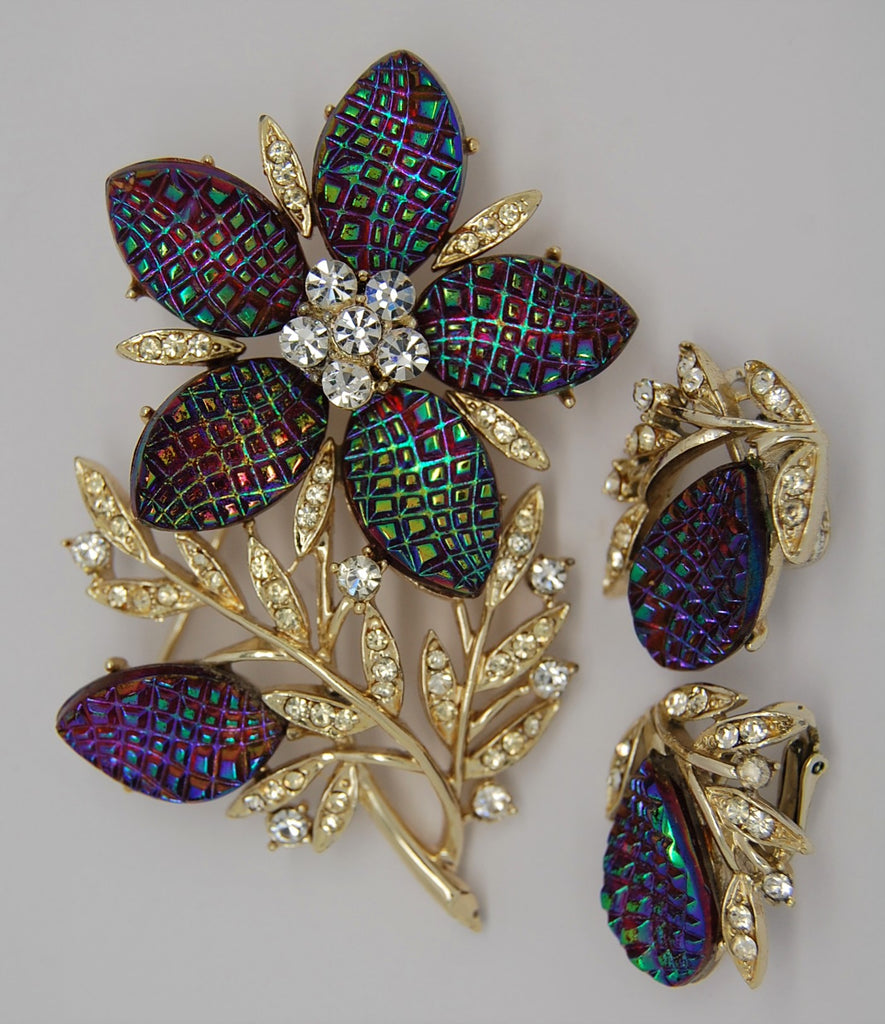 Coro Francois Iridescent Purple Blue Waffle Stones Vintage Brooch & Earrings - Rare