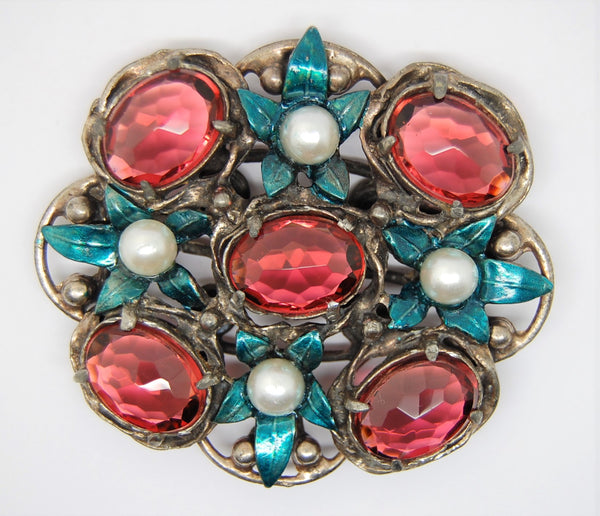 Art Deco American Pinkish Red & Metallic Blue Floral WW2 Vintage Coat Pin Brooch