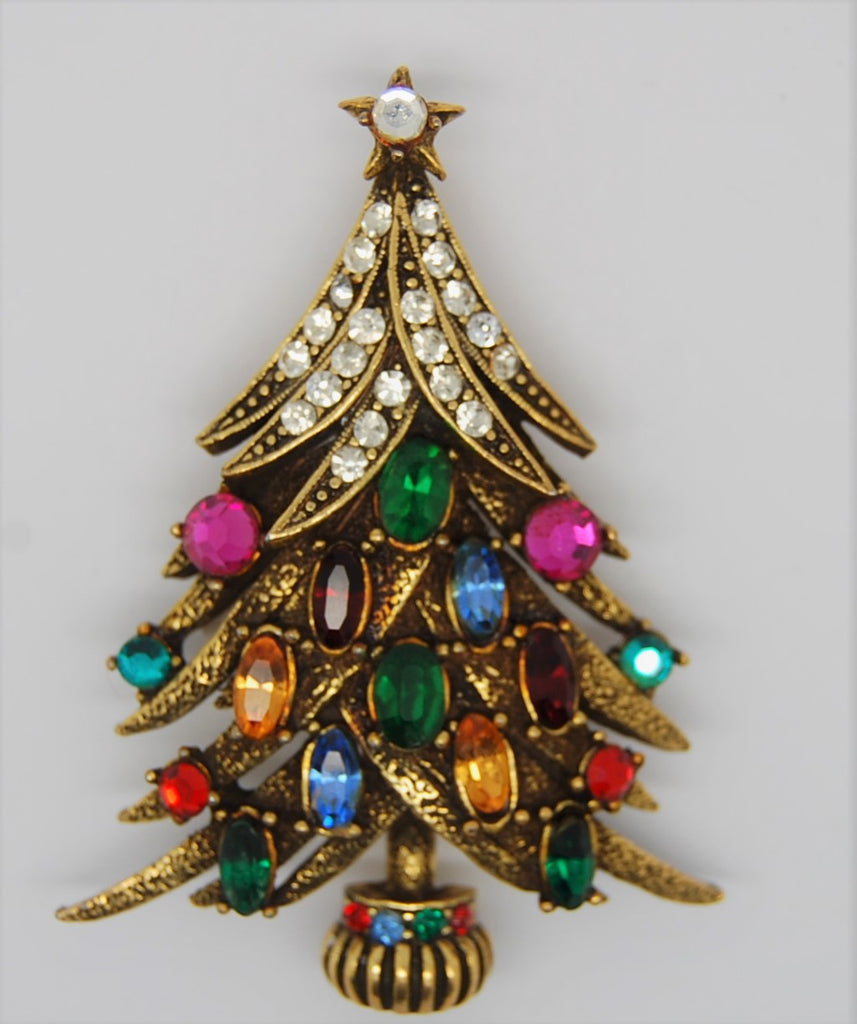 Hollycraft Bough Snow Topped Christmas Tree Vintage Figural Brooch - Rare