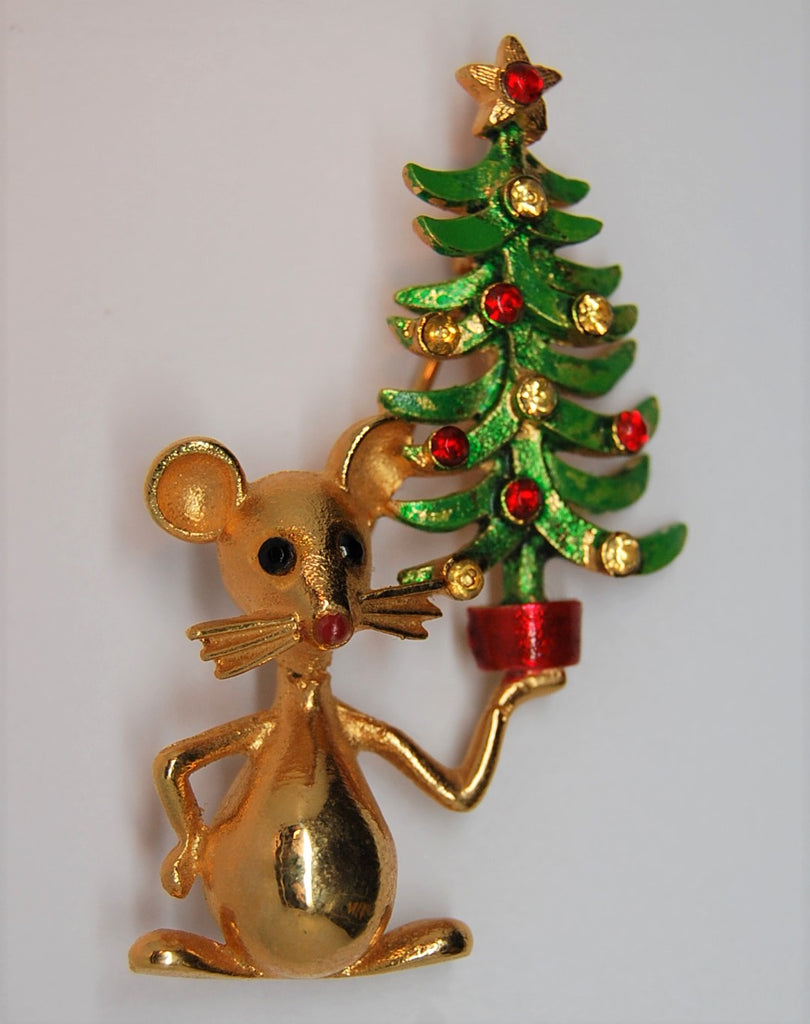 Mylu Christmas Mouse and Tree Vintage Figural Brooch - 1950s