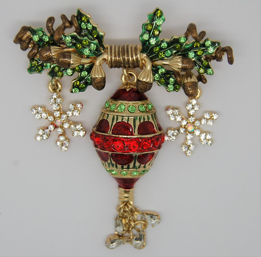 St John Christmas Ornament Acorns Snowflakes Dangling Figural Brooch