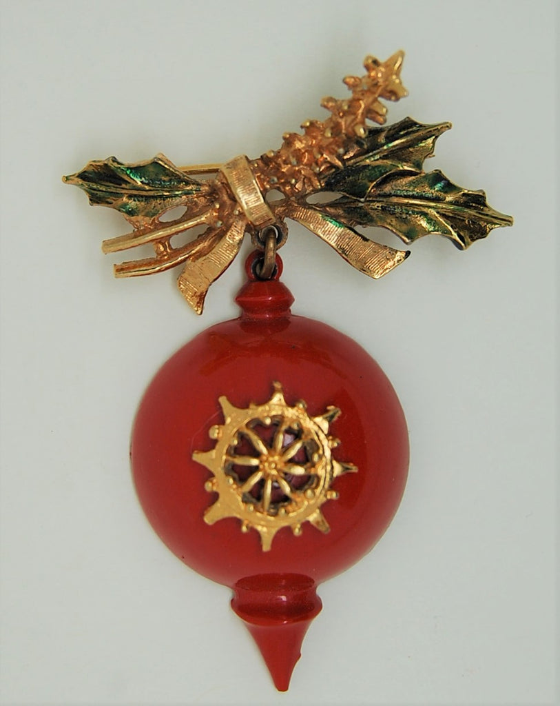 ART Holiday Christmas Ornament Red Enamel Dangling Vintage Brooch