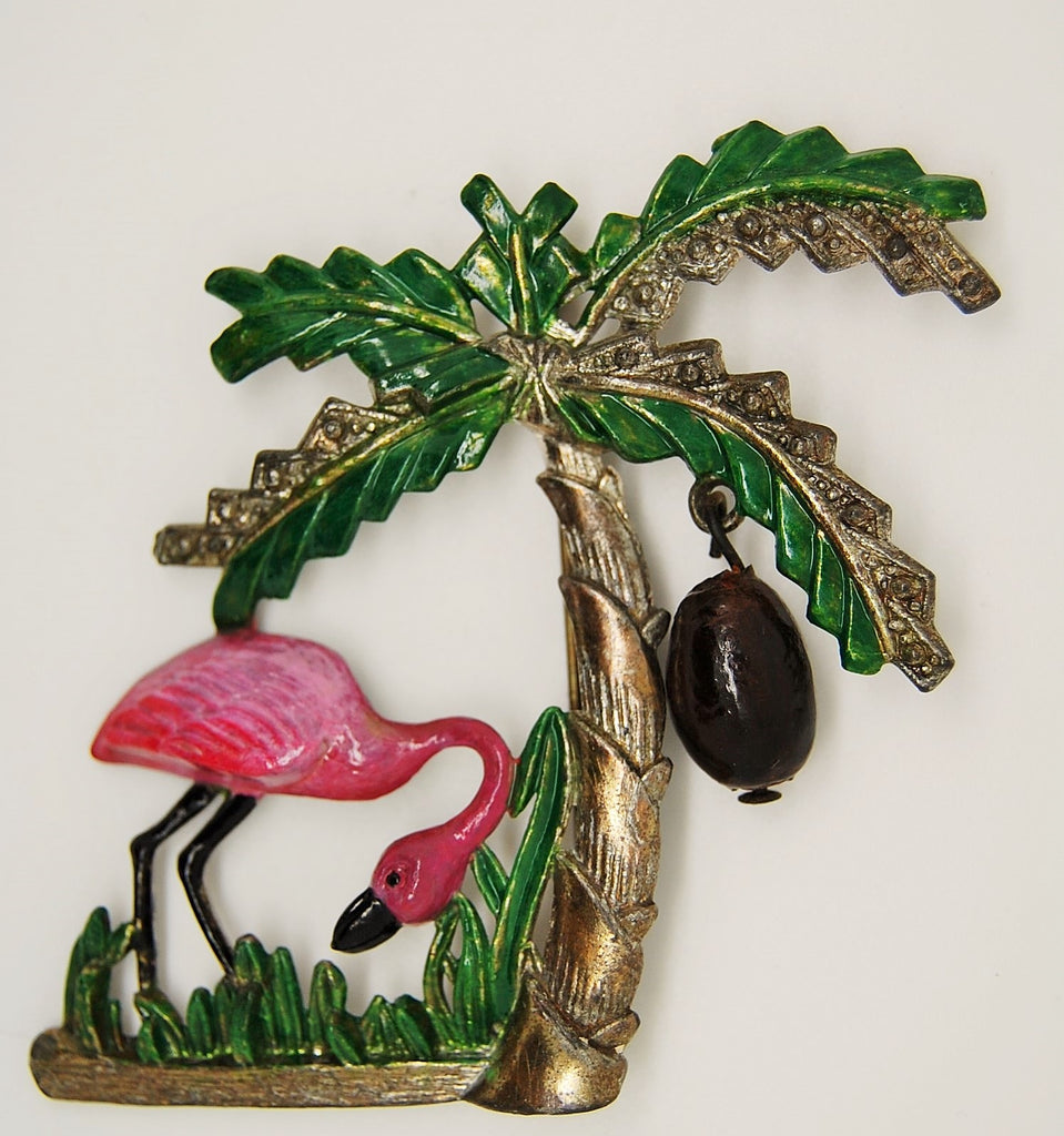 Bauman Massa Flamingo Coconut Palm Tree Figural Brooch 1940s - Mink Road Vintage Jewelry