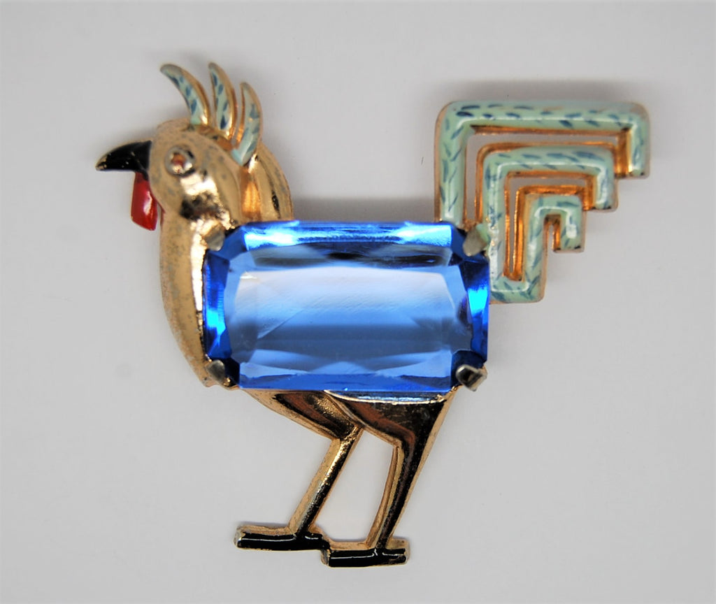 Coro Enamel Gold Tone Rooster Vintage Figural Pin Brooch