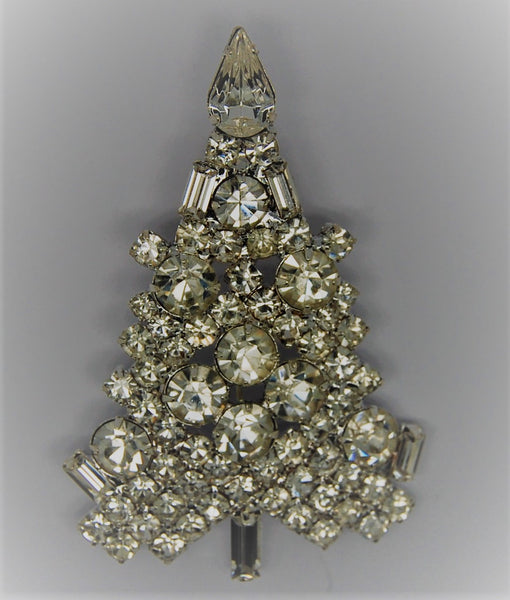 Christmas Glittering White Rhinestone Figural Tree Brooch - dates 1980s