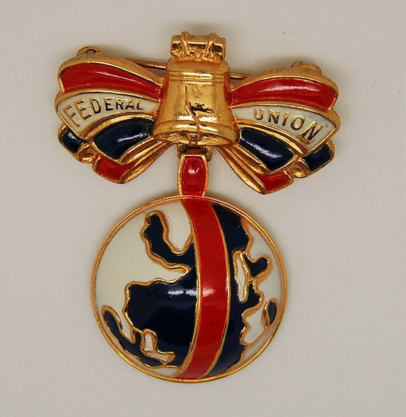 Accessocraft Federal Union WWII Streit Patriotic Bow Brooch - Mink Road Vintage Jewelry