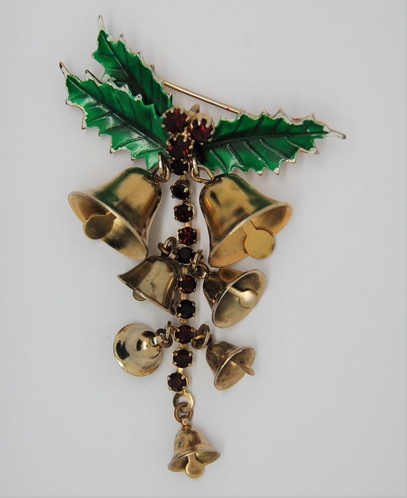 St Labre Christmas Holly Dangling Bells Figural Brooch