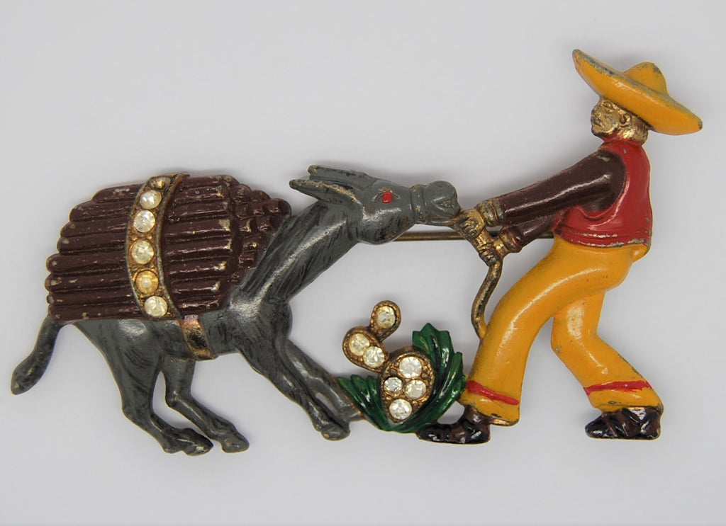 Bauman Massa Mexican and Stubborn Mule Enamel Pin Brooch - 1940s