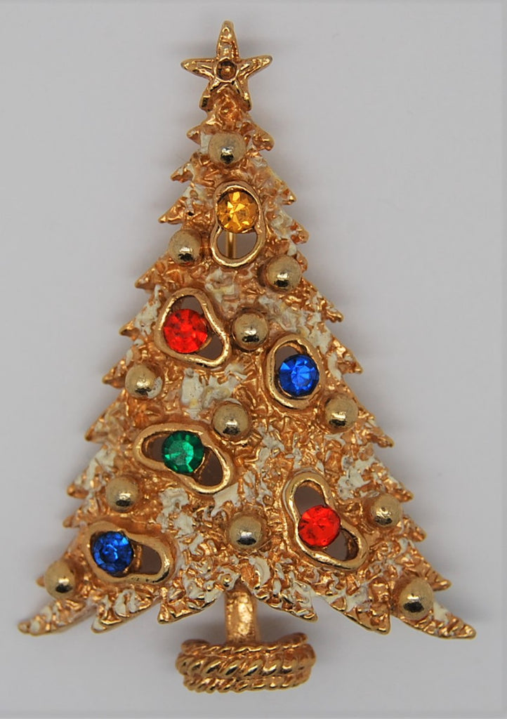 ART Holiday Flocked Tree Gold Tone Rhinestone Christmas Brooch - 1960s