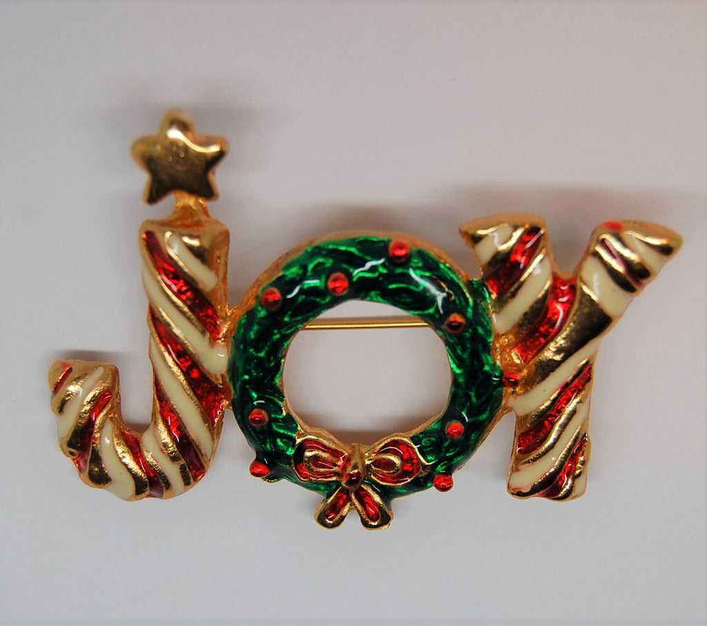 Joy Candy Cane Wreath Enamel Christmas Message Figural Brooch - 1980s