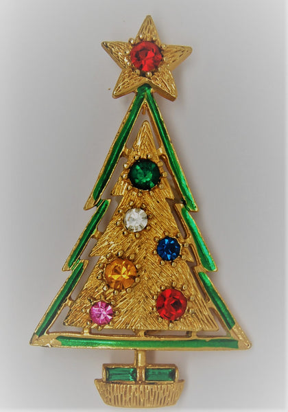 Christmas Tree Brooch Book Piece - Dates to 1960s