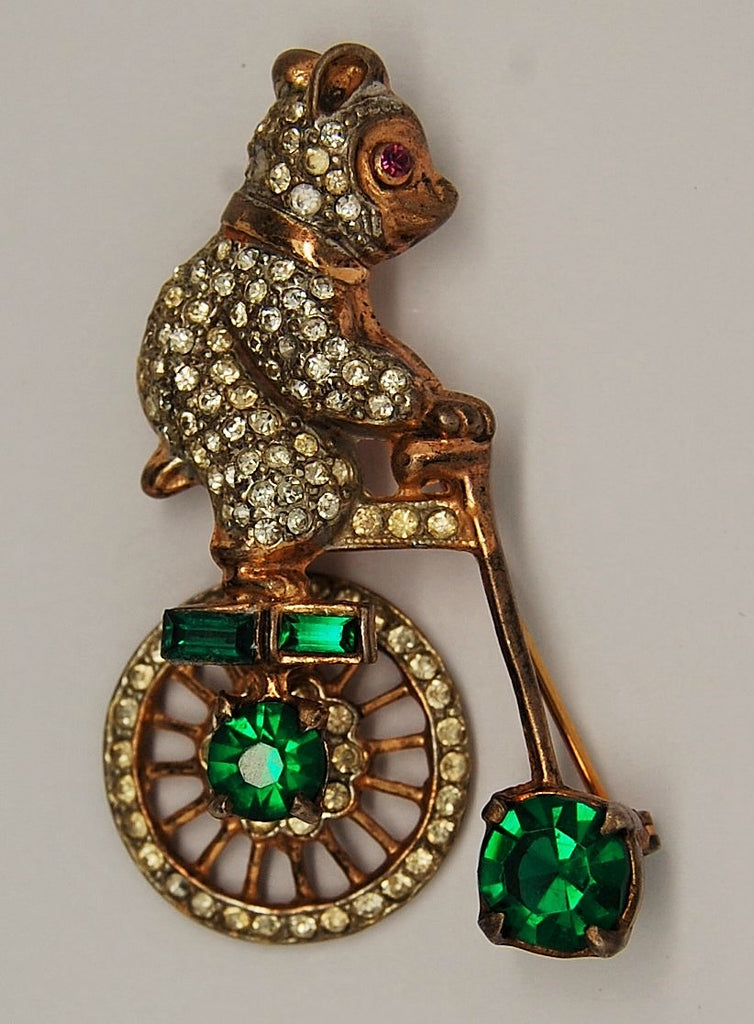 Gargano Garmen Circus Unicycle Bear Mechanical Figural Brooch - Mink Road Vintage Jewelry