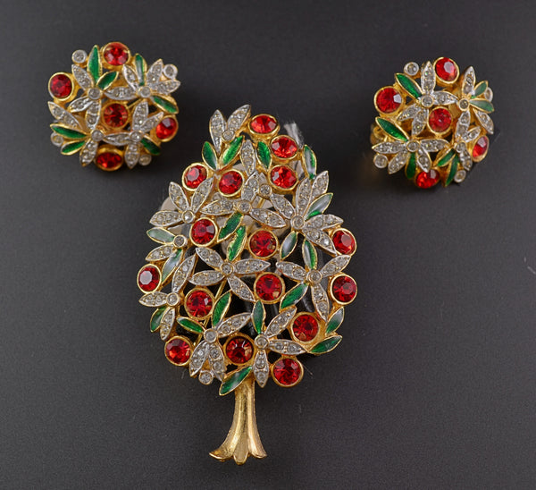 Sphinx Rhinestone Tree & Earrings Brooch - Mink Road Vintage Jewelry