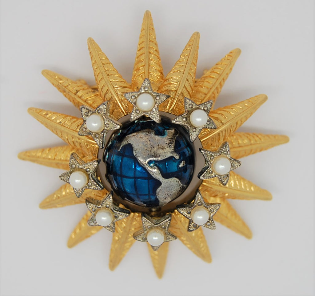 Graziano Earth Sun and Stars Vintage Figural Brooch - HTF