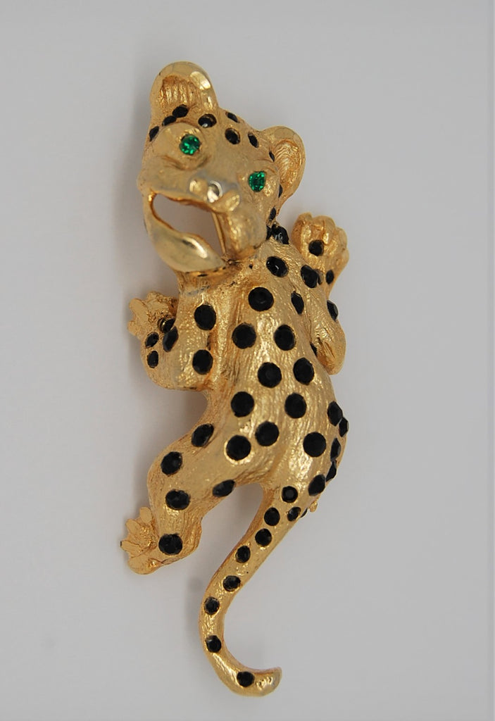 Hobe Cat Panther Cougar Climbing Figural Vintage Brooch - 1960s