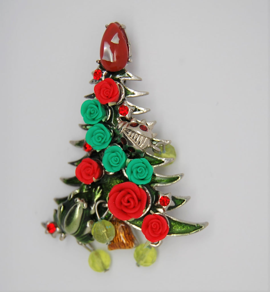 Christmas Tree Holiday Frog & Roses Figural Pin Brooch