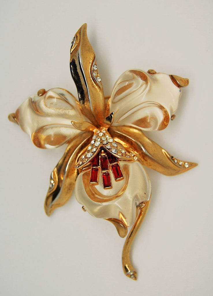 Trifari Orchid Jelly Belly 1944 A Philippe Brooch Pin - Mink Road Vintage Jewelry