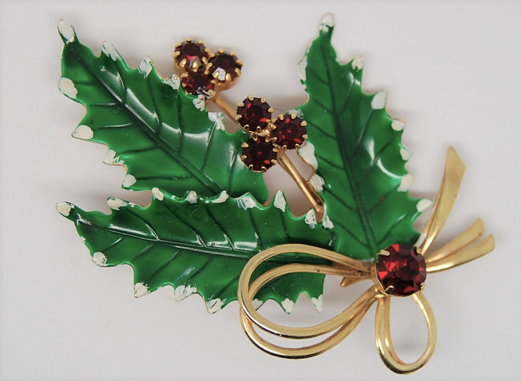 St Labre Christmas Holly Berries & Bow Enamel Figural Vintage Brooch
