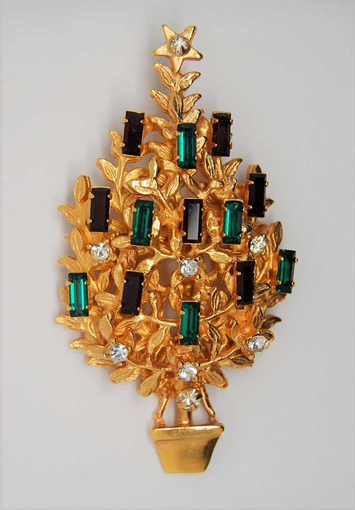 Original by Robert Candle Christmas Tree Navette Stones Vintage Figural Brooch