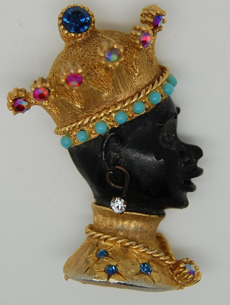 Har Blackamoor Sultan Prince Crown Figural Brooch Pin 1950s - Mink Road Vintage Jewelry