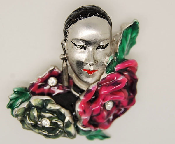 Bob Mackie Asian Beauty Figural Brooch 2000's - Mink Road Vintage Jewelry